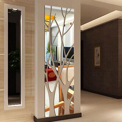 3D Acrylic Self-Adhesive Wall Mirror Tree Style Stickers Decal Bedroom Decor UK • 11.49£