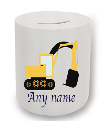 Construction Digger Personalised Money Box • 6.50£