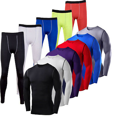 Mens Compression Body Armour Base Layer Gym Thermal Shirt Tops Leggings Pants • 8.73£