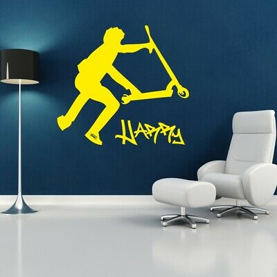 £19.05 • Buy STUNT SCOOTER Wall Sticker Personalised Bedroom Large Decal Trick Transfer Vinyl