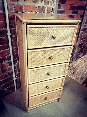 1970s Vintage  Italian Type Bamboo Rattan Tall Chest Of Drawers • 245£
