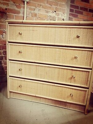 1970s Vintage Italian Type Bamboo Rattan Chest Of Drawers • 350£