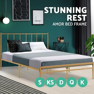 AU125.95 • Buy 20%OFF Bed Frame Metal Queen Double King Single Size Steel Mattress Base Amor