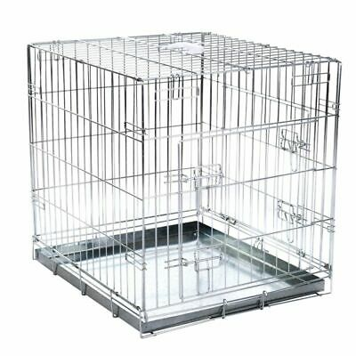 £49.26 • Buy Spacious Metal Dog Cage Kennel Large Foldable Secure Double Door Travel Crate