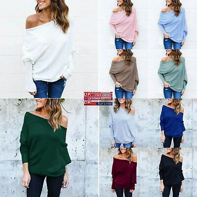 Womens Off The Shoulder Chunky Knit Jumper Ladies Oversized Baggy Sweater Top UK • 10.99£