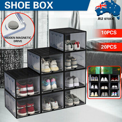 AU84.99 • Buy Premium Magnetic Sneaker Display Shoe Box Large Storage Case Clear Plastic Boxes
