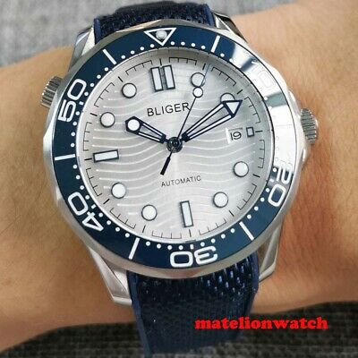 $ CDN112.03 • Buy NH35 41 Mm Automatic Men's Watch Rubber Strap Sapphire Glass White Dial Date
