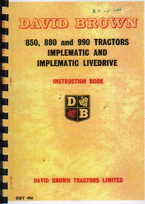 £12 • Buy David Brown 850, 880 And 990 Implematic Tractor Instruction Manual