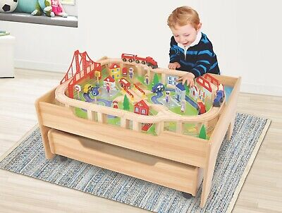 Wooden Kids Train Set Table Toy 100 Accessories • 72.99£