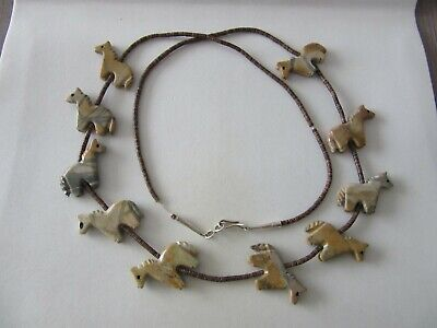 Southwestern Native American Necklace Bead With Carved Horses 29.1 G • 49.99£