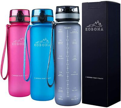 AU34.99 • Buy Smart Water Bottle 1 Litre Motivational With Time Markings Hydration Tracker
