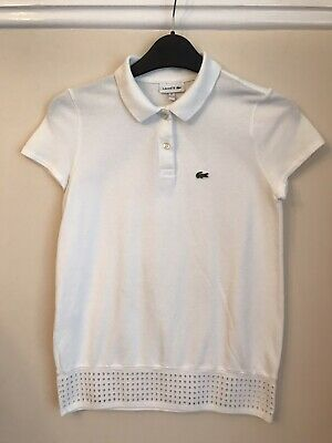 Lacoste Girls White Tennis Tshirt Polo Shirt Top Age 12 Years NEW • 20£