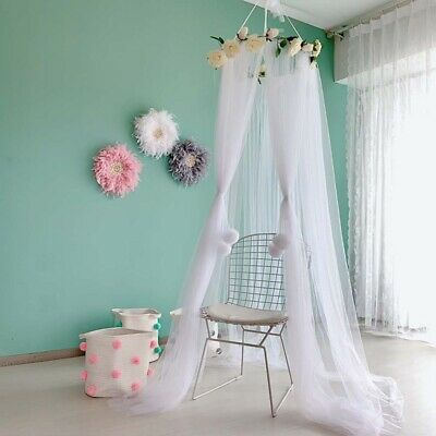 Kids Baby Girl Flower Bed Canopy Bedcover Mosquito Net Curtain Bedding Dome Tent • 28.29£
