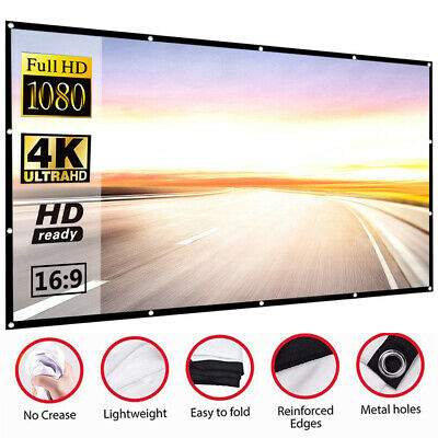 £8.97 • Buy HD Projection Screen Home Cinema Pull Down Projector 16:9 72 80 100  UK SELLER