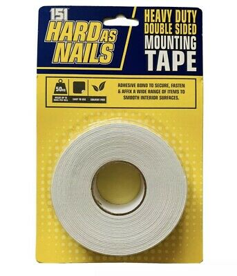 Hard As Nails Heavy Duty Double Sided Adhesive Tape, Picture Hanging Strips 5m • 3.99£