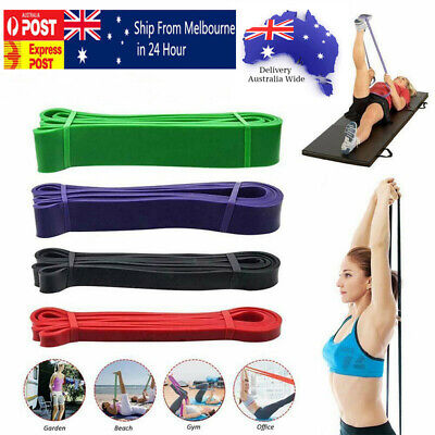AU17.99 • Buy SET Of 4 Heavy Duty Resistance Yoga Bands Loop Exercise Fitness Workout Band Gym