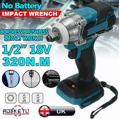 18V Cordless Brushless Impact Wrench 1/2  1/4  Replacement For MAKITA DTW285Z UK • 24.99£