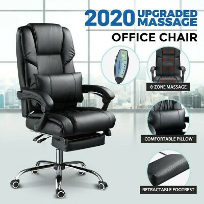 AU239.95 • Buy 8 Point Massage Office Chair Computer Desk Chair Heated Recliner Leather Black