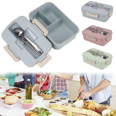 3 Compartments Lunch Box Food Container Set Bento Storage Boxes Microwave Heatin • 6.39£