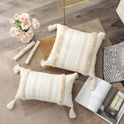 Throw Pillow Case Cover Cushion Tufted Tassel Woven Decorative Pillowcase • 12.72£