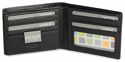 SADDLER Mens Genuine Leather 11 Credit Card Tab Wallet Billfold With Large ID... • 53.12£