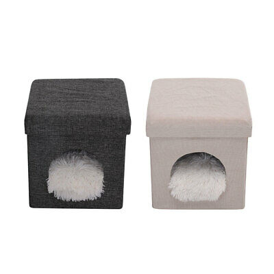 £19.95 • Buy Pet Dog Cat Bed Stool Kitten Hideaway House Igloo Ottoman Footrest With Cushion