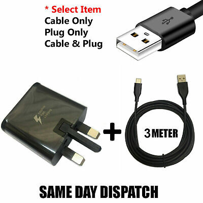 £1.99 • Buy Genuine Samsung Fast Charger Plug& 3M Type-C USB Data Cable For Galaxy Phone Lot