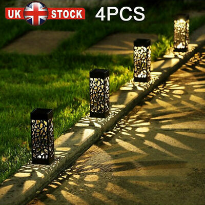 4x Solar Power LED Stake Lights Patio Outdoor Garden Lawn Path Lamp Waterproof • 10.99£