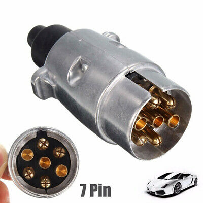 7 Pin Metal Trailer Plug Towbar Towing Lights Socket Car Van Caravan 12V AH ^^ • 6.01£