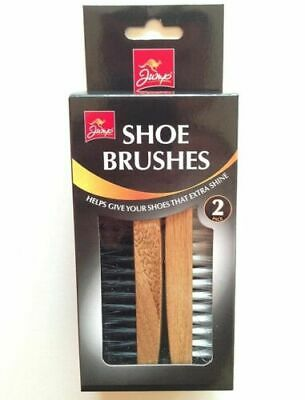 £4.99 • Buy Traditional Boot SHOE Brush Polish Buffing Buff Shine Leather Clean Smart 2pc