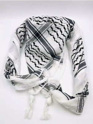 Authentic Keffiyeh Palestinian Head Scarf Made In Palestine White And Black • 17.99£