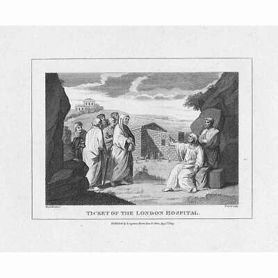WILLIAM HOGARTH Ticket Of The London Hospital - Antique Print 1809 • 9.95£