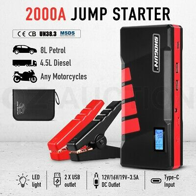 AU129.95 • Buy Portable Car Jump Starter Battery Charger Booster LCD Power Bank 2000A