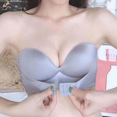 Girl Push Up Adjustable Breathable Bra Strapless Front Buckle Underwear Li #` • 4.22£