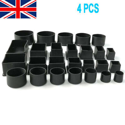 PVC Rubber Square Round Floor Anti Scratch Protect Cover Chair Feet End Cap UK • 3.79£