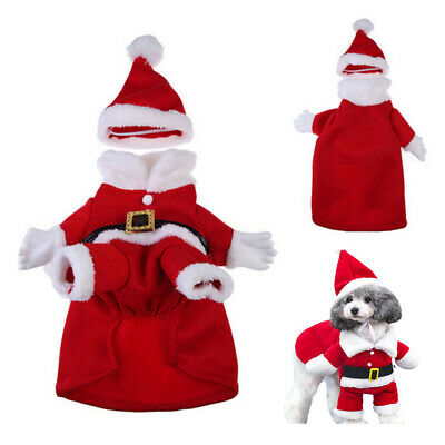 Pet Puppy Christmas Small Dog Cat Santa Claus Cape Coat Costume Outfit Cosplay • 7.49£