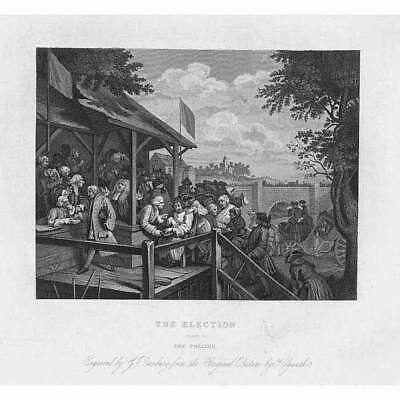 WILLIAM HOGARTH The Election: The Polling - Antique Print 1861 • 9.95£
