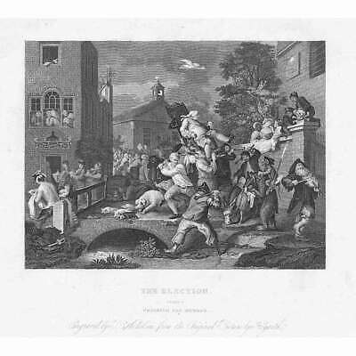 WILLIAM HOGARTH The Election: Chairing The Members - Antique Print 1861 • 9.95£
