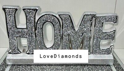 £19.99 • Buy Crushed Diamond Silver Crystal '' Home '' Sign, Shelf Sitter