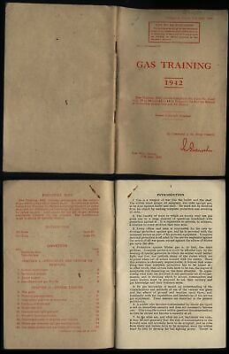 1942 WWII WAR OFFICE Pamphlet GAS TRAINING 83 Pages + ANTI-GAS Label • 30£