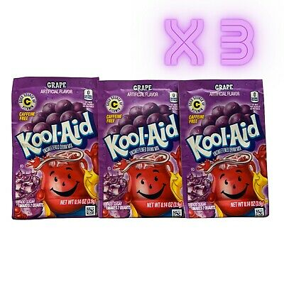 3 PACK Grape Kool Aid Drink Sachet 0.14oz (3.9g) UK Seller NEW • 3.50£