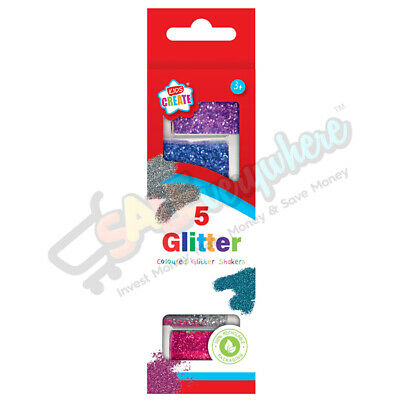 Kids Create Glitter Shakers 5 Assorted Colours Pack Ideal For Children Art Craft • 3.99£