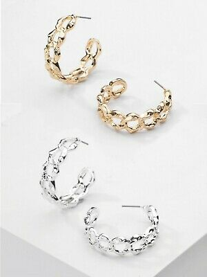 Ladies Chain 30mm Earrings Curb Link Chunky Gold Silver Half Hoop Hip Hop • 5.99£