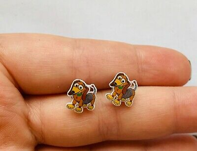 £3.99 • Buy Slinky Slink Dog Toy Story Studs Cabochon Earrings Stud Silver Look Tiny NEW