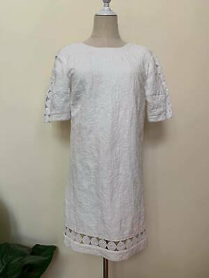 AU27.90 • Buy [ FOREVER NEW ] White Shift Dress Full Zip Textured Fabric/Anglaise Lace Size 8