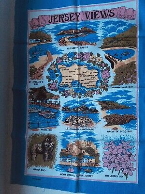 £7 • Buy Vintage Tea Towel, Jersey Views. Map And Places To Go