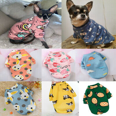 Cute Print Small Dog Hoodie Winter Pet Cat Warm Clothes For Chihuahua Sweatshirt • 3.32£
