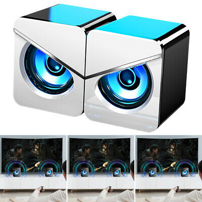 Surround Sound LED PC Speakers Gaming Bass USB Wired For Desktop Computer Laptop • 12.99£