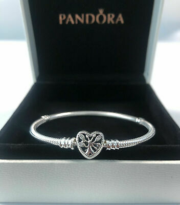 Genuine Silver Pandora Moments Family Tree Heart Clasp Snake Chain Bracelet • 18.99£