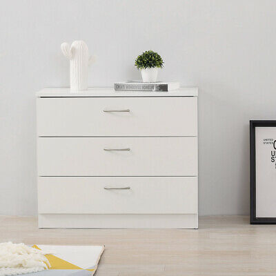 Modern White Chest Of Drawers 3 Draws Bedroom Furniture Hallway Storage Cabinet • 38.88£